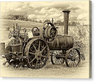 Steam Powered Tractor Sepia Canvas Print by Steve Harrington
