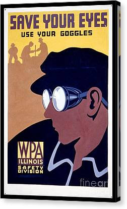 Steam Punk Wpa Vintage Safety Poster Canvas Print by Edward Fielding