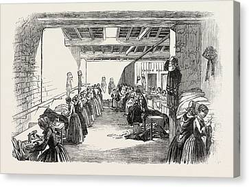 Steam Sewing-machines 1854. A View Of A Portion Canvas Print