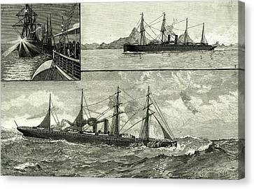 Stormy Weather Canvas Print - Steam Ship Ormuz Australia To England 1887 On The Voyage by Australian School
