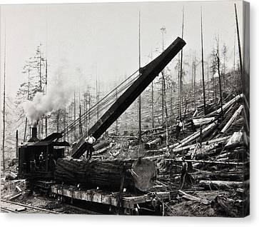 Steam Loader Loading Logs C. 1890 Canvas Print