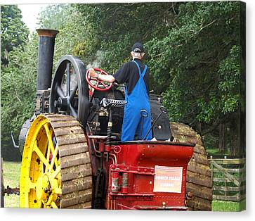 Steam Tractor Moves On 2 Canvas Print by Patricia Howitt