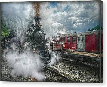 Canvas Print featuring the photograph Steam Train by Hanny Heim