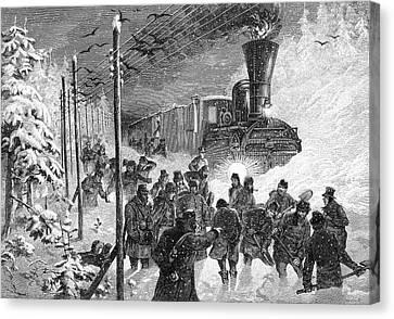 Steam Train In Snow Drift Canvas Print