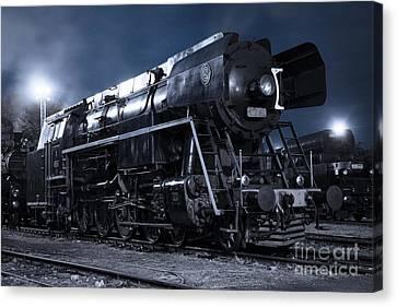 Steam Train In The Night II. Canvas Print by Martin Dzurjanik