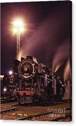 Steam Train In The Night IIi. Canvas Print by Martin Dzurjanik