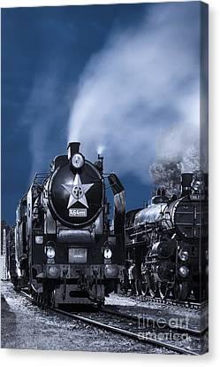 Steam Train In The Night Canvas Print by Martin Dzurjanik