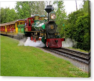 Canvas Print featuring the photograph Steam Train by Joy Hardee