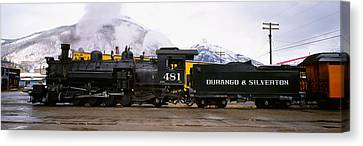 Steam Train On Railroad Track, Durango Canvas Print by Panoramic Images