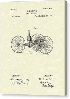Tricycle Canvas Print - Steam Tricycle 1889 Patent Art by Prior Art Design