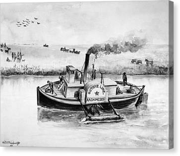 Steam Tug Boat, 1840s Canvas Print by Granger