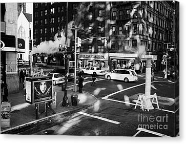 steam vent intersection crosswalk 7th and West 14th street greenwich village new york city Canvas Print
