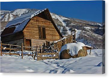 Canvas Print featuring the photograph Steamboat Barn by Don Schwartz
