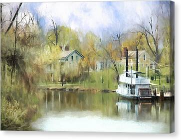 Canvas Print featuring the painting Steamboat Landing In The South by Ike Krieger