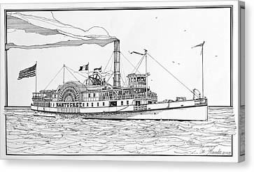 Steamboat Nantucket 1900 Canvas Print by Ira Shander
