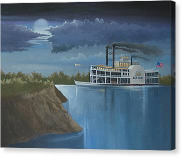 Steamboat On The Mississippi Canvas Print by Stuart Swartz