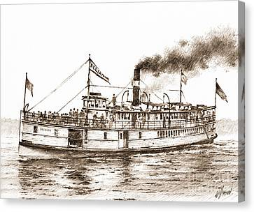 Steamboat Reliance Sepia Canvas Print by James Williamson