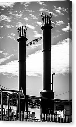 Steamboat Smokestacks Black And White Picture Canvas Print