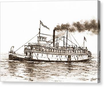 Steamboat State Of Washington Sepia Canvas Print