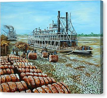 Steamboat Unloading Cotton In Memphis Canvas Print by Karl Wagner