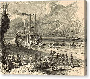 Steamer On The Tennessee Warped Through The Suck - 1872 Engraving Canvas Print by Antique Engravings