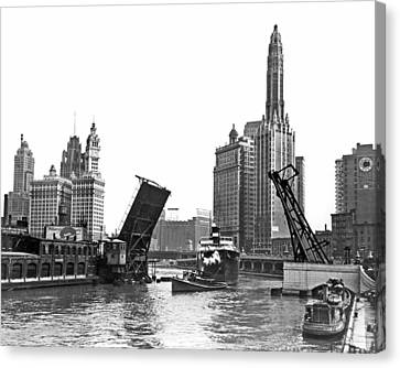 Chicago River Canvas Print - Steamer Towed On Chicago River by Underwood Archives