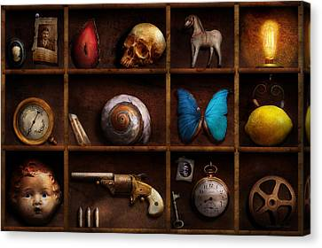 Steampunk - A Box Of Curiosities Canvas Print by Mike Savad