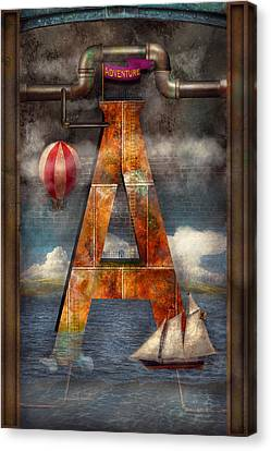 Steampunk - Alphabet - A Is For Adventure Canvas Print by Mike Savad