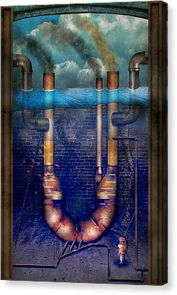 Steampunk - Alphabet - U Is For Underwater Utopia Canvas Print by Mike Savad
