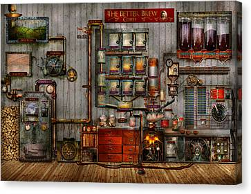 Steampunk - Coffee - The Company Coffee Maker Canvas Print by Mike Savad