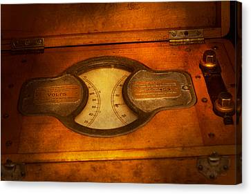 Steampunk - Electrician - The Portable Volt Meter Canvas Print by Mike Savad