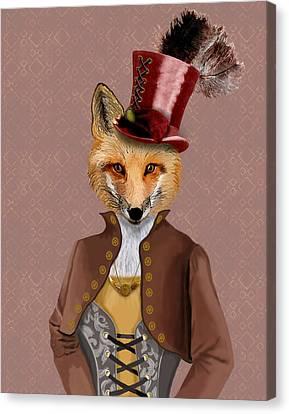 Steampunk Fox Vivienne Fox Canvas Print by Kelly McLaughlan