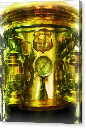 Steampunk - Gauge And Two Brass Lanterns On Fire Truck Canvas Print by Susan Savad