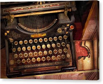 Steampunk - Just An Ordinary Typewriter  Canvas Print by Mike Savad
