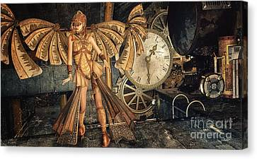 Steampunk Meeting Point Canvas Print by Jutta Maria Pusl