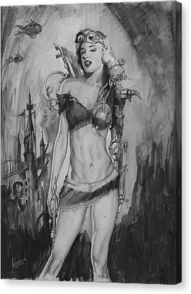 Steampunk Monroe Canvas Print by Luis  Navarro
