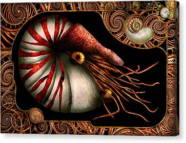 Steampunk - Nautilus - Coming Out Of Your Shell Canvas Print by Mike Savad
