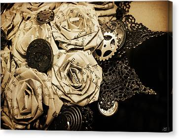 Steampunk Paper Roses Will Never Fade Canvas Print by Lisa Knechtel