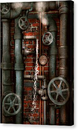 Steampunk - Plumbing - Pipes And Valves Canvas Print by Mike Savad