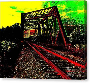 Steampunk Railroad Truss Bridge Canvas Print