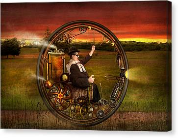 Steampunk - The Gentleman's Monowheel Canvas Print by Mike Savad