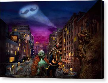Steampunk - The Great Mustachio Canvas Print by Mike Savad