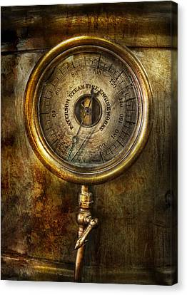 Steampunk - The Pressure Gauge Canvas Print by Mike Savad