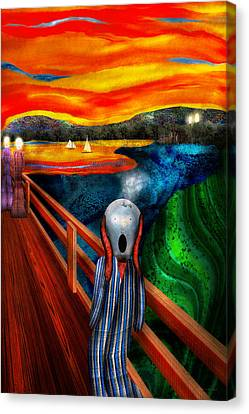 Steampunk - The Scream Canvas Print by Mike Savad