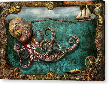 Squid Canvas Print - Steampunk - The Tale Of The Kraken by Mike Savad