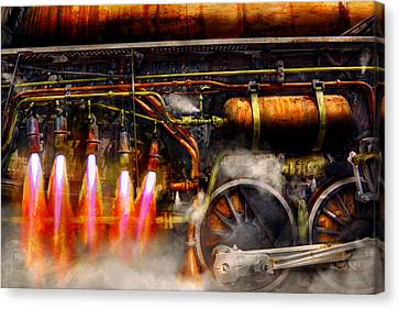 Steampunk - Train - The Super Express  Canvas Print by Mike Savad