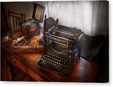 Steampunk - Typewriter - The Secret Messenger  Canvas Print by Mike Savad