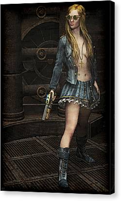 Steampunk Vixen Canvas Print by Maynard Ellis