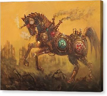 Steampunk War Horse Canvas Print by Tom Shropshire
