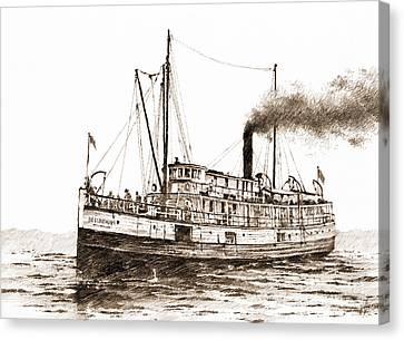 Steamship Bellingham Sepia Canvas Print